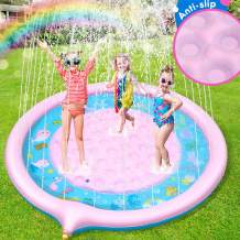 """Sprinkler for Kids, Upgraded Non-Slip Splash Pad 70"""" Children's Sprinkler Pool Extra Large Inflatable Baby Wading Pool Summer Outdoor Water Toys Fun Backyard Fountain Play Mat for Alphabet Learning"""