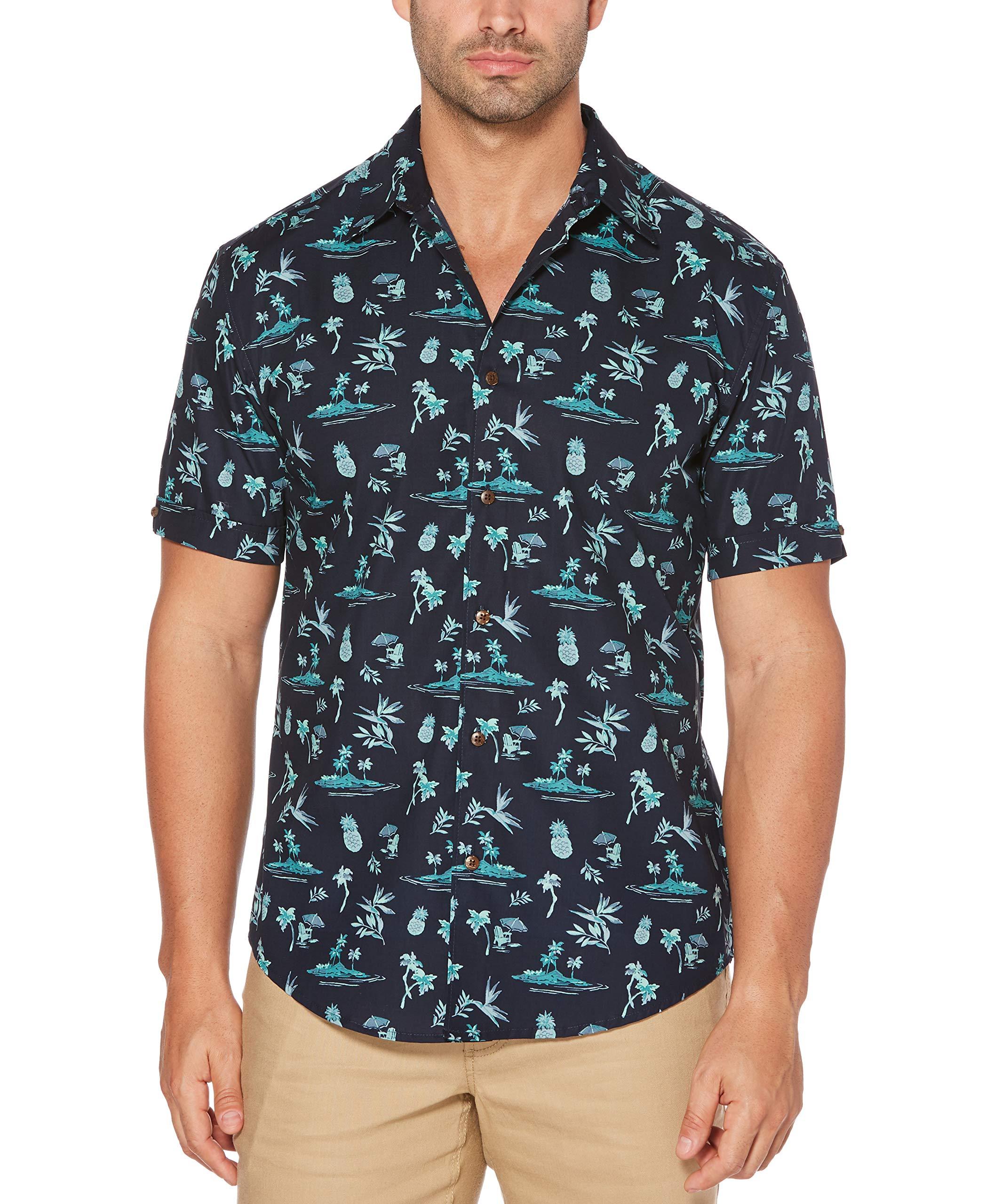 Cubavera Men's Big and Tall Short-Sleeve Mini Print Shirt