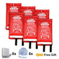 """JJ CARE Fire Blanket (6 Pack) Fire Fighting Suppression Blankets Fiberglass Cloth (40""""x40"""") Flame Retardant Blanket Emergency Survival kit with 6 Hooks & Grips for Camping Kitchen & Warehouse Safety"""