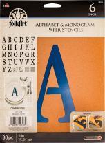 "FolkArt 50318 Plaid Stencil Folk-Art Paper Alphabet & Monogram Serif 6"", 6"""