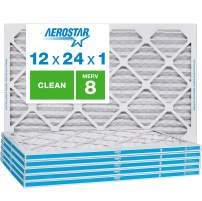 Aerostar Clean House 12x24x1 MERV 8 Pleated Air Filter Made in the USA 6 Pack, White