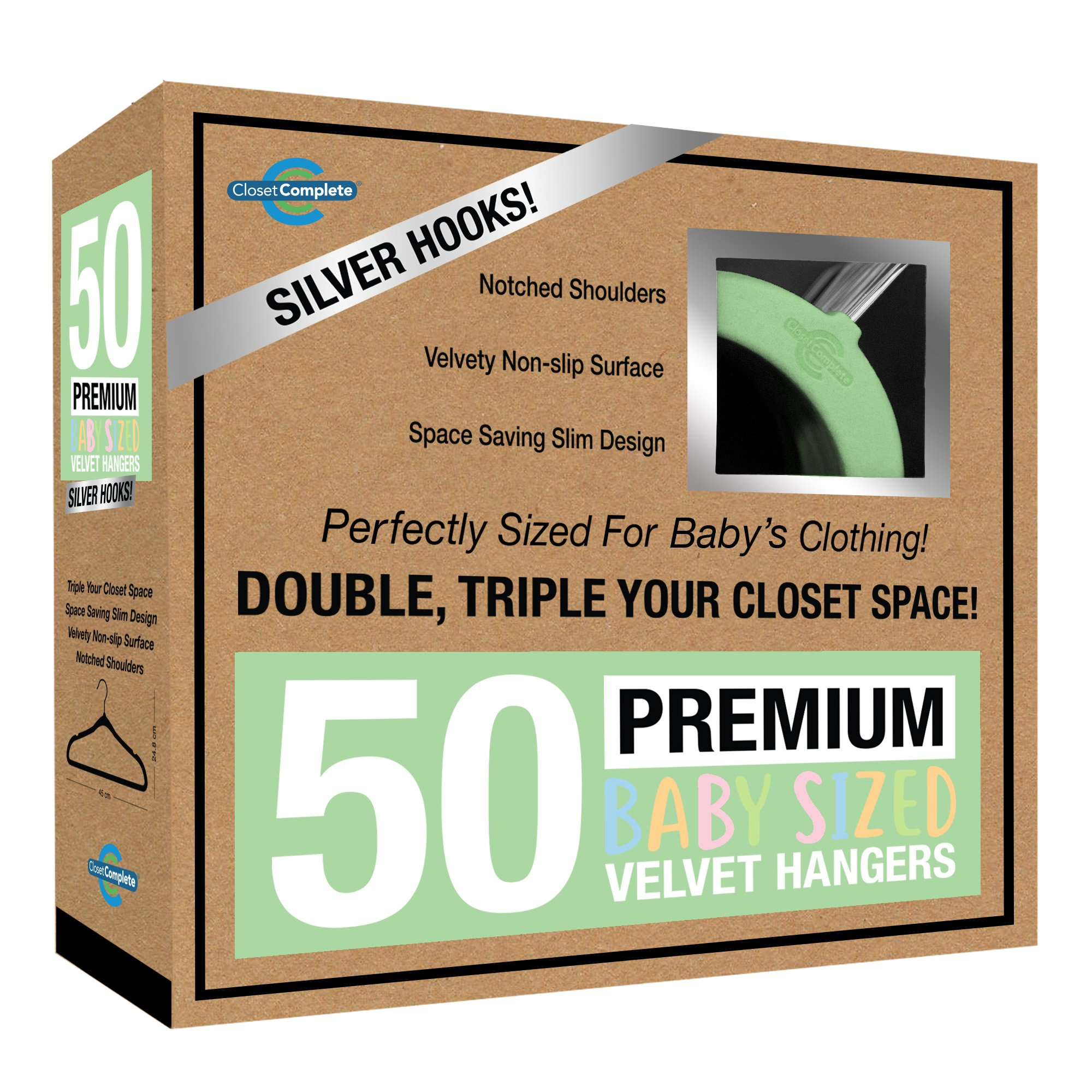 Closet Complete Baby Velvet Hangers, Premium Quality, True-Heavyweight, Virtually-UNBREAKABLE, Ultra-Thin, Space Saving No-Slip, Perfect Size for Babies 0-48 months 360° SPIN, Chrome Hooks, Green 50pc