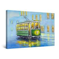 "Startonight Canvas Wall Art Abstract - Green Trolley Through The Blue Rain Painting - Artwork Print for Bedroom 24"" x 36"""