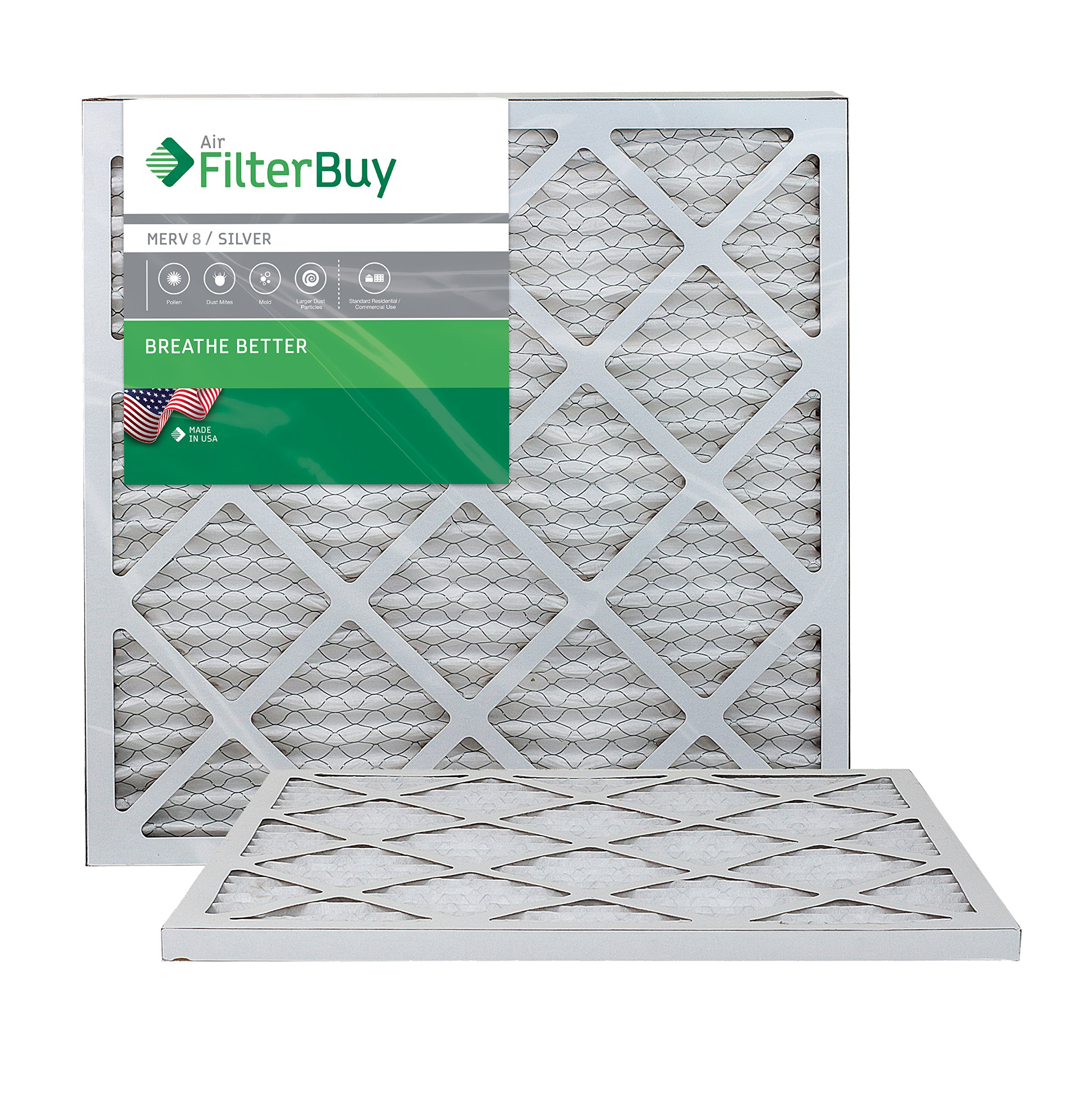 FilterBuy 18x20x1 MERV 8 Pleated AC Furnace Air Filter, (Pack of 2 Filters), 18x20x1 – Silver
