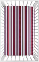 Sweet Jojo Designs Red, White and Blue Stripe Baby Boy Fitted Mini Portable Crib Sheet for Baseball Patch Sports Collection - for Mini Crib or Pack and Play ONLY
