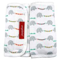 【angelette】Baby Carrier Reversible Sucking Pad/Car Seat Strap Covers/Stroller Belt Covers/Drool Pad/Teething Pad/Made in Japan(Garland Elephant)
