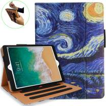 NEWQIANG iPad 9.7 inch 2018 2017 Air2 Air1 Case with Hand Strap - iPad 5th 6th Generation Case Cover- Multi-Angle Stand, Auto Sleep Wake - A1822 A1823 MR7F2LL/A MR7F2LL/A (Starry Night)