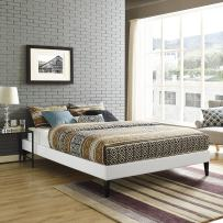 Modway Sharon Vinyl Bed Frame with Squared Tapered Legs, King, Black