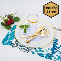 "150 Pcs Disposable Dinnerware Set, Gold Rimmed Plates include 25 Dinner Plates (10.25""), 25 Dessert Plates (7.5""), 25 Tumblers (12.5 oZ), 25 Forks, 25 Knives and 25 Spoons"