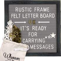 Rustic Barnwood Frame Gray Felt Letter Board 10x10 inch. Precut White & Gold Letters, Script Cursive Words, Wood Stand, Scissors. Changeable Letter Sign for Rustic Farmhouse Wall Decor. Grey Felt Message Board