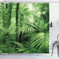 """Ambesonne Rainforest Shower Curtain, Palm Trees and Exotic Plants in Tropical Jungle Wild Nature Theme Illustration, Cloth Fabric Bathroom Decor Set with Hooks, 84"""" Long Extra, Green"""