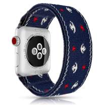 Viwell Elastic Bands Compatible with iWatch 42mm 44mm,Elastic Soft Thin Double Side Stretch Strap Replacement for iWatch Series 5/4/3/2/1 Blue Anchor Pattern
