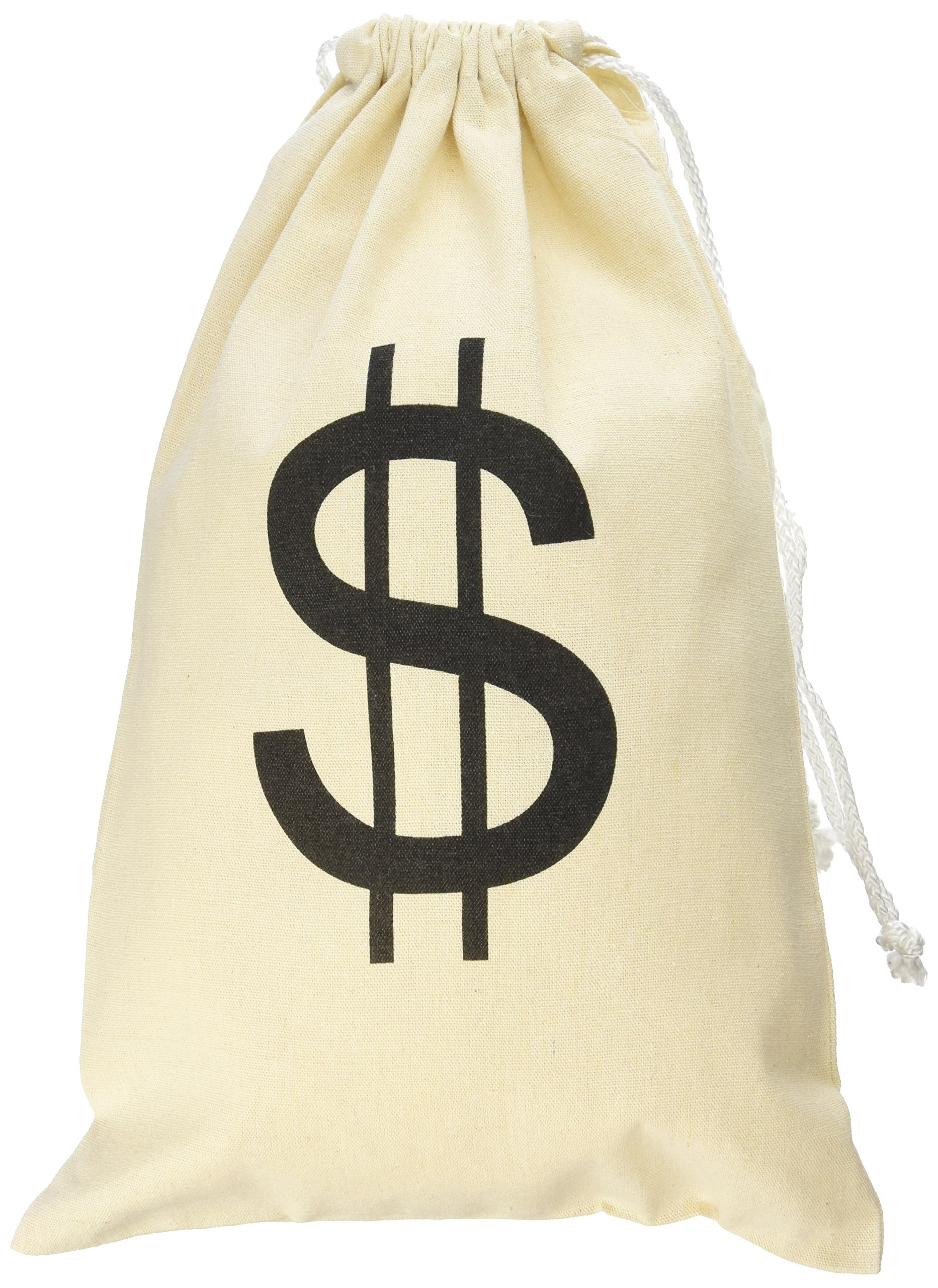 Super Z Outlet Large Canvas Natural Money Bag Pouch with Drawstring Closure and Dollar Sign Design for Toy Party Favors, Bank Robber Cowboy Pirate Theme, Carrying Case Sack