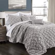 Lush Decor Light Gray Ravello Shabby Chic Style Pintuck 5 Piece Comforter Set with Pillow Shams Full/Queen