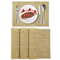 "Wlife Placemats, Yellow Heat-Resistant Placemats, Stain Resistant Washable PVC Table Mats, Cross Weave Non-Slip Vinyl Table Mats 18""X12"" Beige, 4pcs"