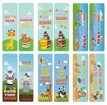 Creanoso Cute Sayings Wild Animals Reading Bookmarks (30-Pack) – Stocking Stuffers Gift for Kids, Boys & Girls, Teens – Party Favors Supplies – Book Reading Rewards Gifts Incentive – Great Giveaways