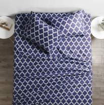 Italian Luxury 1800 Series Hotel Collection Quatrefoil Pattern Bed Sheet Set - Deep Pockets, Wrinkle and Fade Resistant, Hypoallergenic Printed Sheet and Pillow Case Set -King - Navy