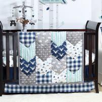 Woodland Trail 3 Piece Forest Animal Theme Patchwork Baby Boy Crib Bedding Set - Navy Blue Plaid