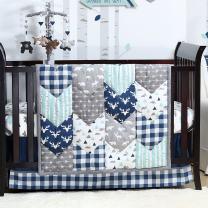 Woodland Trail 5 Piece Forest Animal Theme Patchwork Baby Boy Crib Bedding Set - Navy Blue Plaid