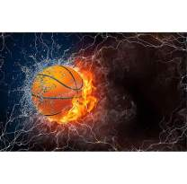5D Diamond Painting Flame Basketball Full Drill by Number Kits, SKRYUIE DIY Rhinestone Pasted Paint with Diamond Set Arts Craft Decorations (12x16inch)