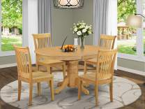 East West Furniture AVPO5-OAK-W Avon Set, Oak