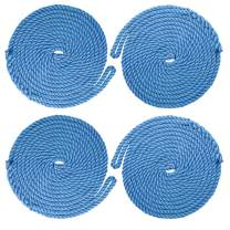 NovelBee 4 Pack of 3/8 Inch x 20 Feet 3 Strand Twisted Nylon Dockline,Mooring Rope Dock Line with Spliced Soft Eye,Working Load Limit 500 lbs,Breaking Strength 2,500 lbs (4pcs,Blue)