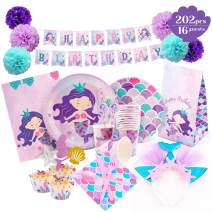Mermaid Party Supplies - Mermaid Birthday Decorations Set Happy Birthday Banner   Plates   Headband  Cupcake Wrappers & Toppers   Serves 16