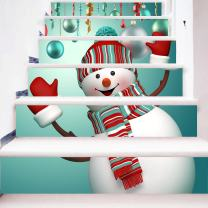 zhiyu&art decor Christmas 3D Stair Stickers Decals-6Pcs/Set Cute Snowman Stair Risers Stickers Decals Removable Staircase Decals Waterproof Mural Wallpaper for Christmas Decoration