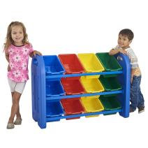 ECR4Kids 3-Tier Toy Storage Organizer with Bins, Blue with 12 Assorted-Color Bins, GREENGUARD Gold Certified Toy Organizer and Storage for Kids' Toys, Kids' Toy Storage (ELR-0216)
