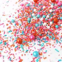 Sorbeto Sprinkle Mix | Pastel |Gluten Friendly | Pink| Orange and Blue | Ice Cream| Spring| Sprinkles, 4OZ