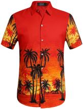 SSLR Men's Coconut Tree Casual Button Down Short Sleeve Hawaiian Shirt