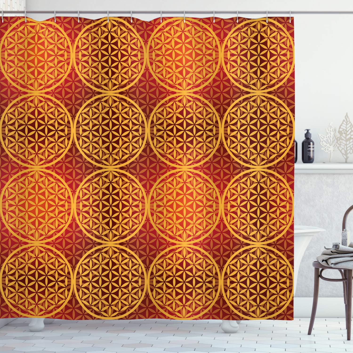 "Ambesonne Victorian Shower Curtain, Vintage Style Flower with Medieval Tones Rococo Baroque Esoteric Motif, Cloth Fabric Bathroom Decor Set with Hooks, 84"" Long Extra, Mustard Orange"