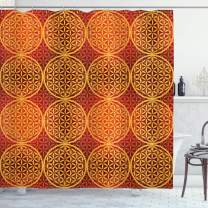 """Ambesonne Victorian Shower Curtain, Vintage Style Flower with Medieval Tones Rococo Baroque Esoteric Motif, Cloth Fabric Bathroom Decor Set with Hooks, 84"""" Long Extra, Mustard Orange"""