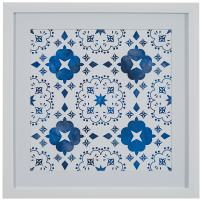 "Amazon Brand – Stone & Beam Boho Blue and White Print Wall Art, White Frame, 14"" x 14"""