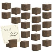 MyGift 20-Piece Square Brown Wood Business Card & Table Number Holders