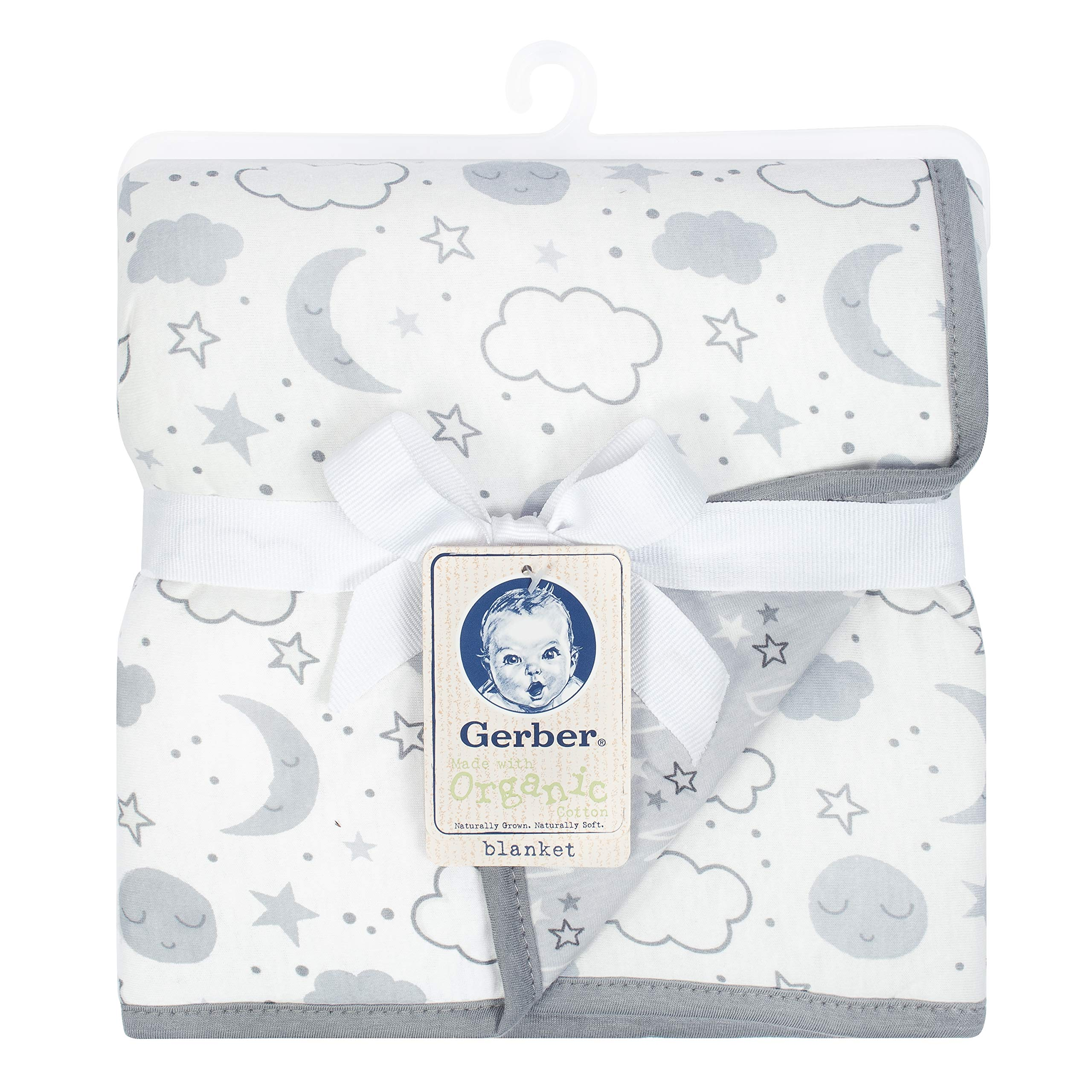 Gerber Organic 2-Ply Blanket, Grey Clouds, One Size