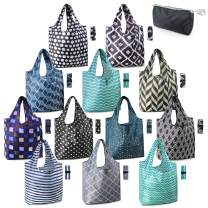 Reusable Grocery Bags Heavy Duty Shopping Bags Washable Foldable 12 Pack Xlarge Classic Geometric Design Gift Tote Grocery Bags with Elastic Band Zipper Storage Pouch Lightweight Durable