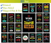 Motivational Posters for Classroom & Office Decorations - Inspirational Quote Wall Art for Teachers, Students, School Counselors, Home & Office - Set of 22 with 22 Posters V2
