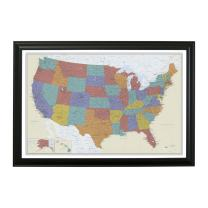 Push Pin Travel Maps Tan Oceans USA with Black Frame and Pins - 27.5 inches x 39.5 inches