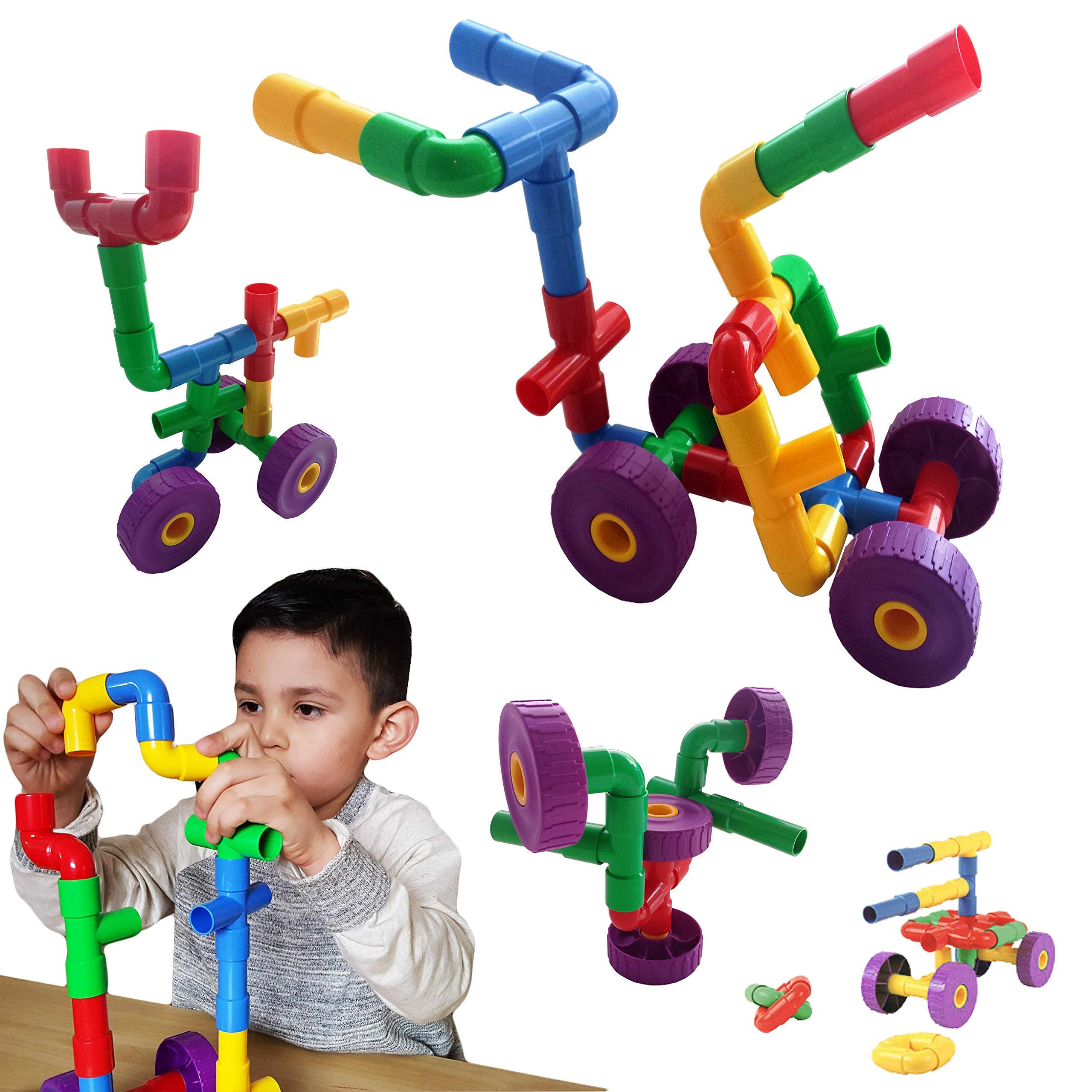Skoolzy STEM Toys for Boys and Girls - Pipes & Joints Building Blocks Construction Sets for Kids - Fun Toddlers Fine Motor Skills Engineering   Best Gift Educational Toy for Age 3 4 5 Year Olds