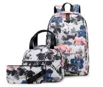 Joymoze Water Resistant Teen Girl Bookbag with Lunch Bag and Pencil Purse Grey Flower