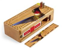 Ruby-Throated Hummingbird Wooden Cribbage Board with Metal Pegs and Deck of Cards