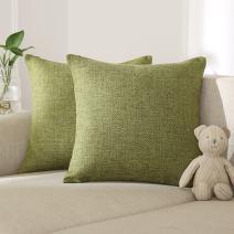 Deconovo Faux Linen Throw Pillow Cushion Covers Toss Pillow Covers Geometric Kaleidoscope Throw Cushion Cover Case Pillow Shams for Sofa 18 x 18 Inch Green Set of 2