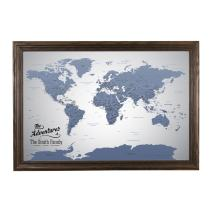 Push Pin Travel Maps Canvas - Personalized Blue Ice World with Solid Wood Brown Frame