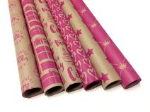 Note Card Cafe Bella Kraft Valentine's Day and Birthday Wrapping Paper | Pink, 6 Pack | 30 x 120 inch Rolls | Valentines, Baby Showers, Gifts, Holidays, Birthday | Recyclable, Biodegradable
