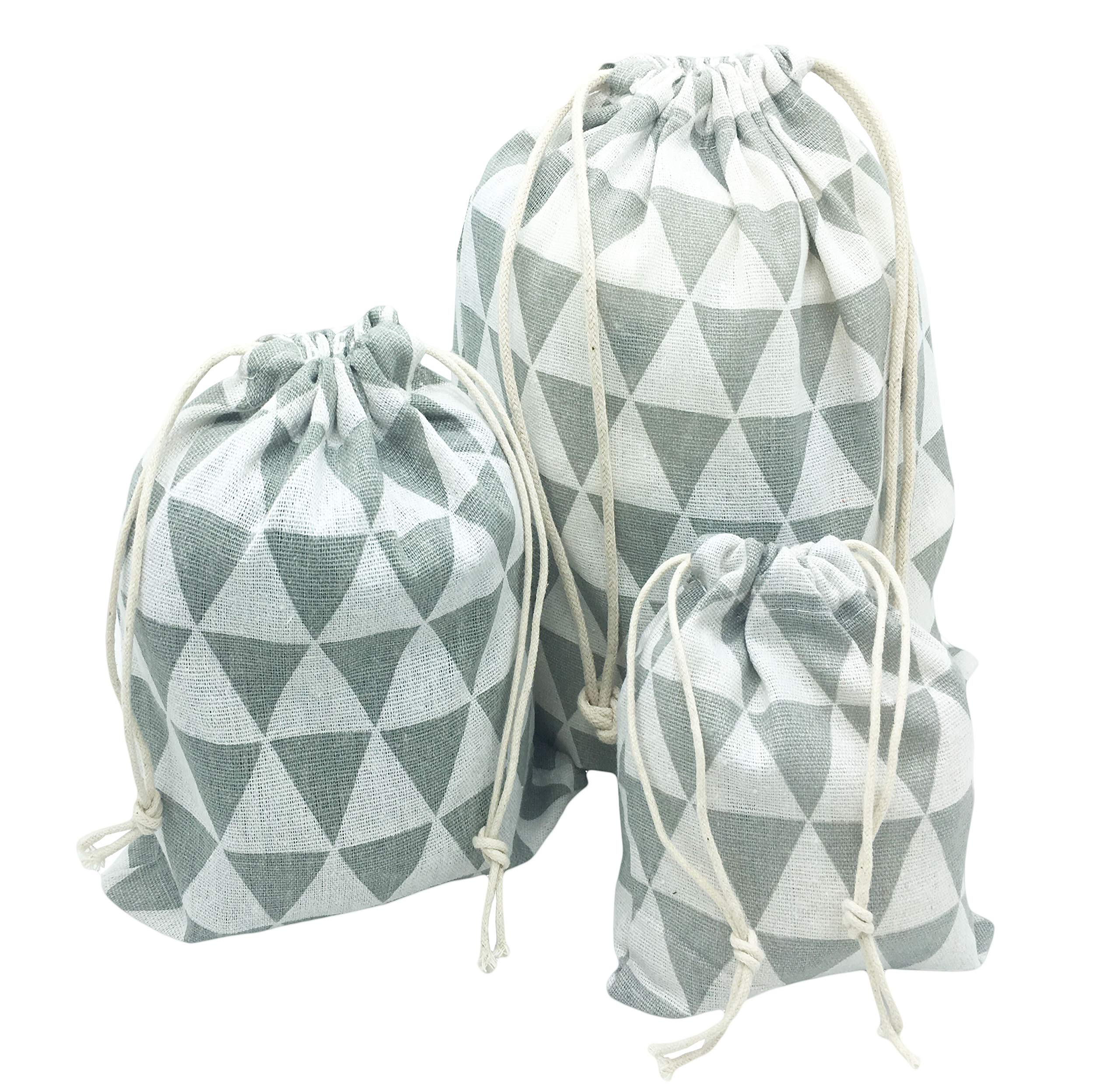 3PCS Cotton Linen Drawstring Storage Bags Pouch Sack Organizer With Pull String