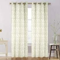 Clothink Sheer Curtain Panels Voile Curtains Panel Semi Sheer Grommet Top Drapes for Indoor Living Dining Room Bedroom Home Decoration Outdoor Patio 50x84inch