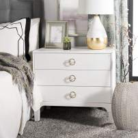 Safavieh Home Collection Lorna 3 Drawer Contemporary Night Stand Nightstand, White
