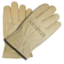 Stanley S82914 Grain Cowhide Leather Palm Patch Keystone Thumb Shirred Elastic Back Driver Glove, X-Large