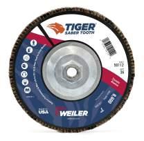 "Weiler 50112 Saber Tooth 5/8""-11 Arbor, 7"" Diameter, 36 Grit, Ceramic, Phenolic Backing, Angled Abrasive Flap Disc"